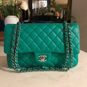 Authentic CHANEL Classic M/L Turquoise Double Flap